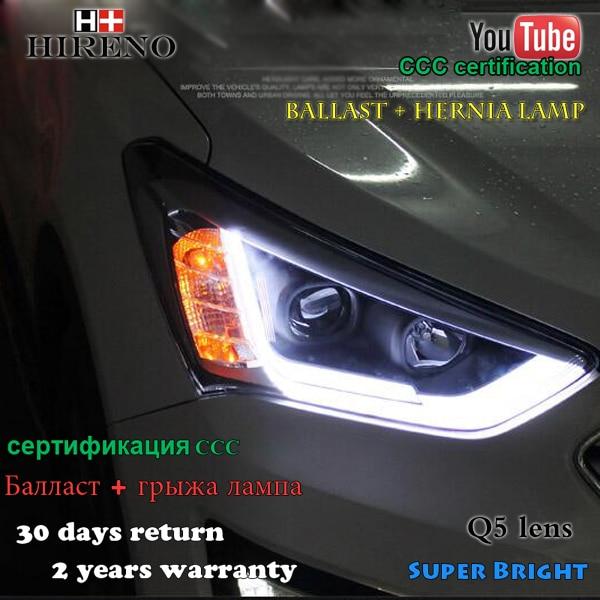 Hireno Headlamp for 2010-2012 Hyundai Santa Fe Headlight Assembly LED DRL Angel Lens Double Beam HID Xenon 2pcs
