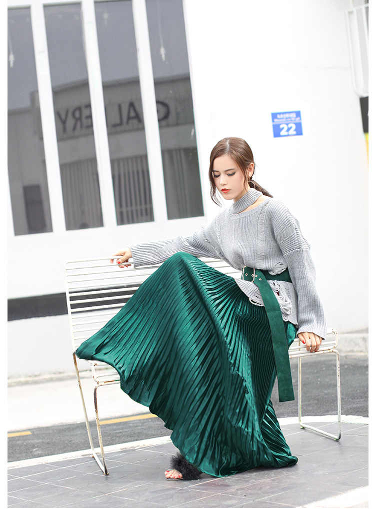 43a823751a ... 2019 Summer Fashion Vintage Silver Golden metal solid flared Maxi Skirt  High Waist Beach Long Pleated