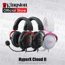 Kingston headset para jogos hyperx cloud ii, fone de ouvido com microfone e som surround 7.1, para pc e ps4