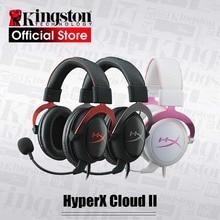 Kingston headset para jogos hyperx cloud ii, fone de ouvido com microfone e som surround 7.1, para pc e ps4