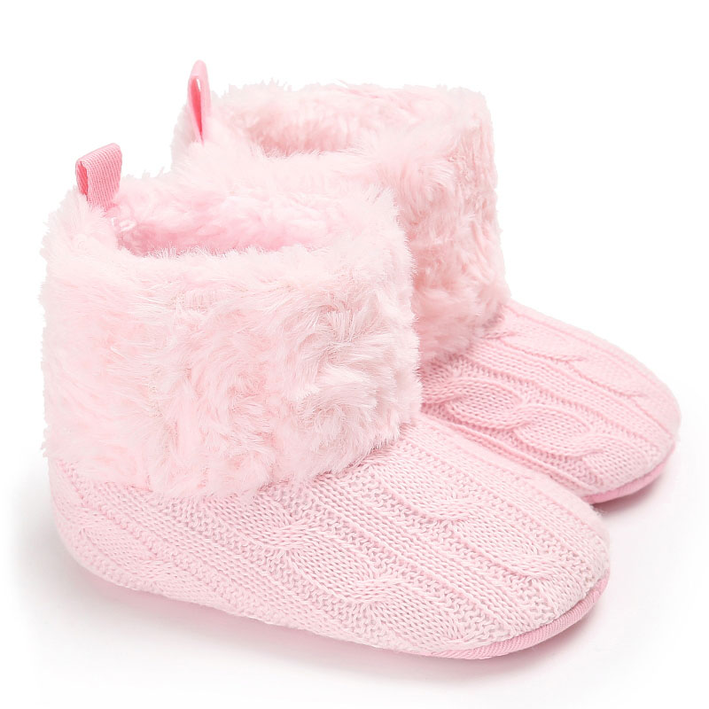 Baby Crochet Fur Shoe Boy Girls Shoes Soft Sole Kids Toddler Infant Boots Prewalker Crochet Keep Warm Snow Booties First Walkers