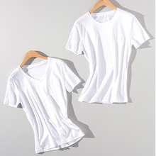 New double-layer silk cotton simple casual ladies T-shirt solid color slim round neck V-neck multi-color optional