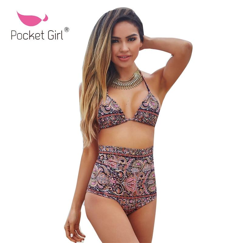 Pocket Girl 2019 Print Bikinis Female Swimsuit Women Swimwear Push Up Bikinis Set High Waist Swimming Suits for Bathing Suit