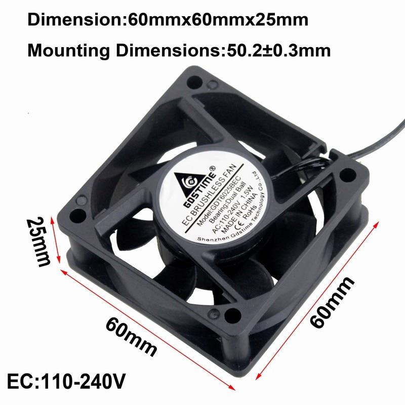 5Pcs AC 110V-240V Ball Bearing 60mm 60x60x25mm Brushless Computer Cooling Fan