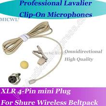 Pro MICWL TA4F mini 4Pin Microfone Beige Lavalier Lapel Microphone for Shure Wireless Beltpack Omni- Directivity  capsule