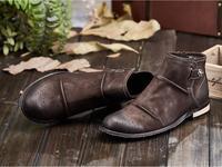 Ботильоны; модельные туфли; мужские слипоны на низком каблуке из натуральной кожи с острым носком; винтажные туфли с пряжкой и боковой молни