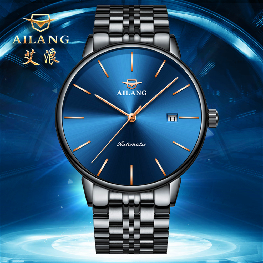 AILANG Mechanical Watch Classic Automatic Watch Stainless Steel Strap Business Mens Watches Top Brand Luxury Relogio Masculino business men classic luxury watch automatic mechanical watches mens hours ruimas top brand male steel clocks relogio masculino