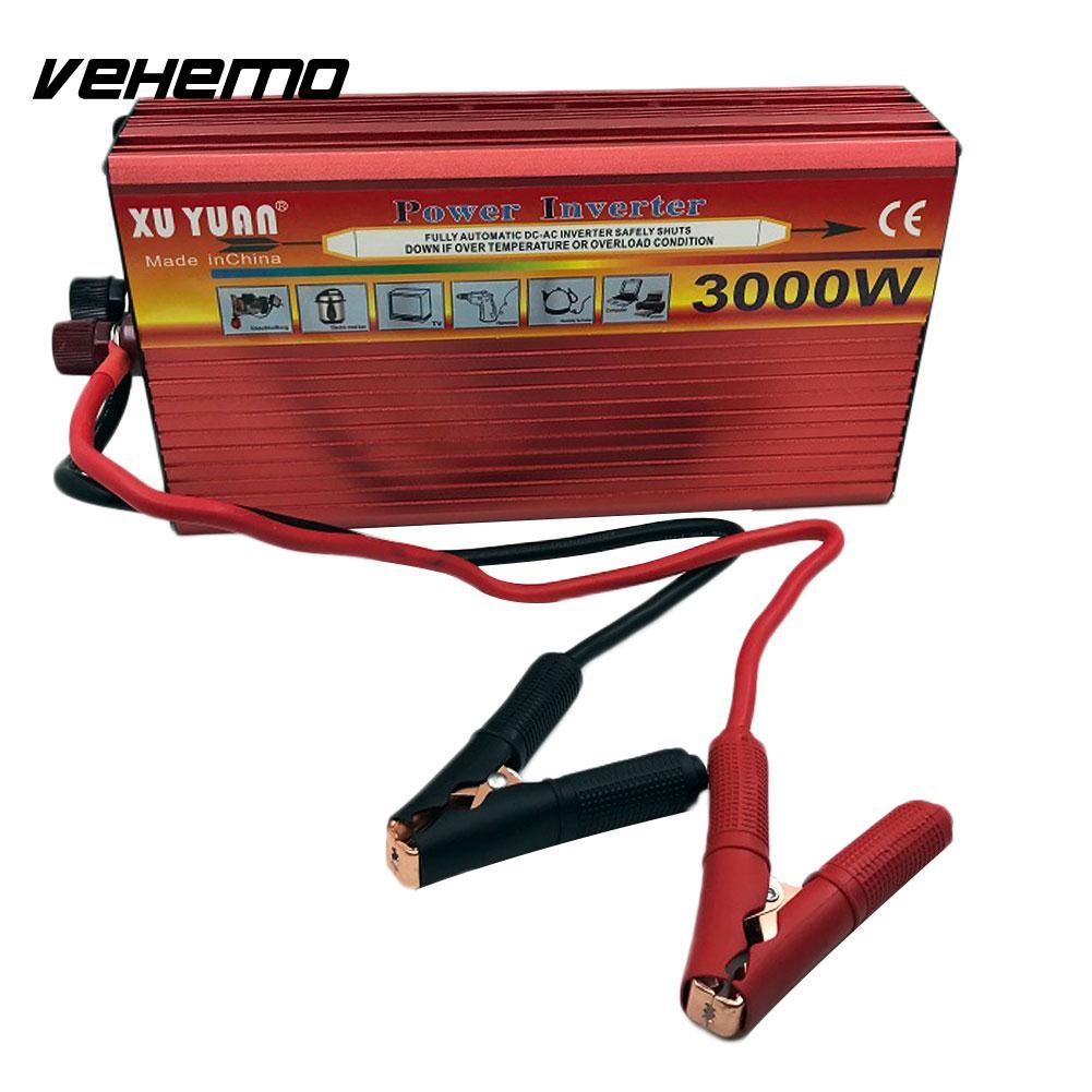 Vehemo Dual USB 3000W Watt DC 12V to AC 110V Portable Car Power Inverter Charger Converter Adapter Modified Sine Wave vehemo dc 12v to ac 220v gold solar inverter power supply car inverter smart portable adapter modified sine wave