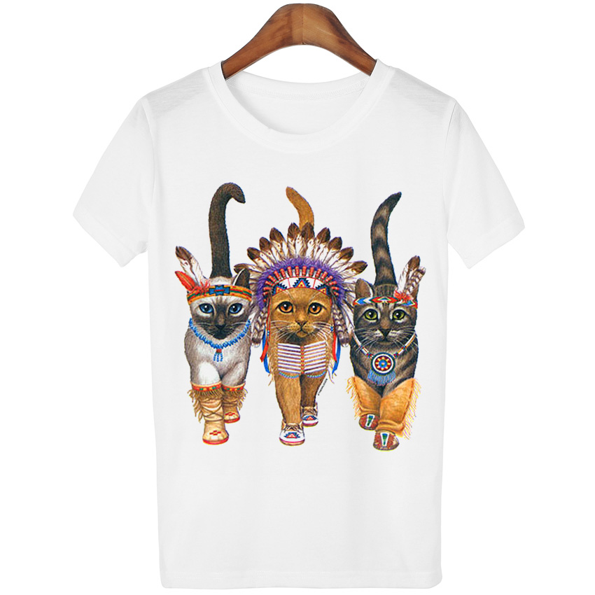 T-shirts 2016 Neue Mode Vintage Tier Cat Print T-shirt Frühling Sommer T Shirt Frauen Kleidung Tops Gedruckt Weiß Frau Kleiden Wmt107 Rheuma Und ErkäLtung Lindern