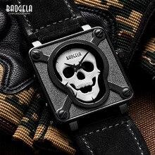 все цены на BAOGELA Men's Premium Luminous Skull Quartz Watches Fashion Skeleton Analogue Wristwatch for Man Leather Strap 1701Black онлайн