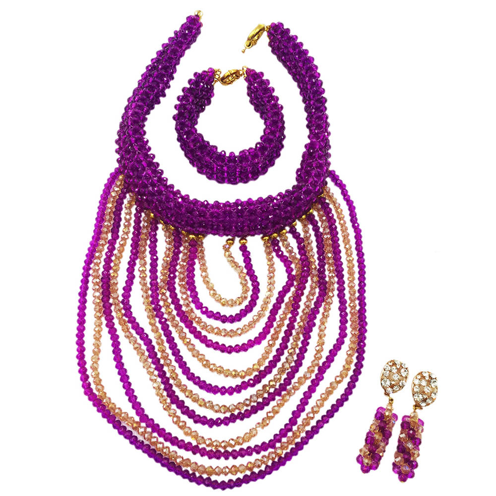 Purple Gold Nigerian Wedding Beads Sets Crystal Beaded African Necklace Earrings Bridal Party Jewelry Sets for Women DDK009 purple clear ab crystal african wedding beads nigerian beaded necklace jewelry set bridal party jewelry sets for women 10c sz30