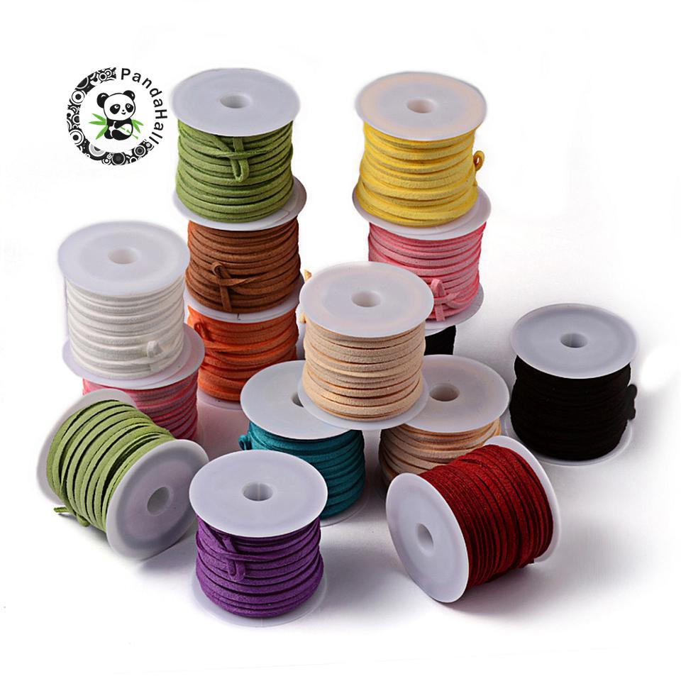 1 Bag Faux Suede Lace Sets Cord Wire Mixed Color 3x1.5mm about 5m//roll 6roll//bag