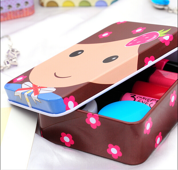 B062 Free shipping 5pcs/lot decoration Collection Display Candy Pill Chutty Mini Storage Metal Cartoon Tin Box