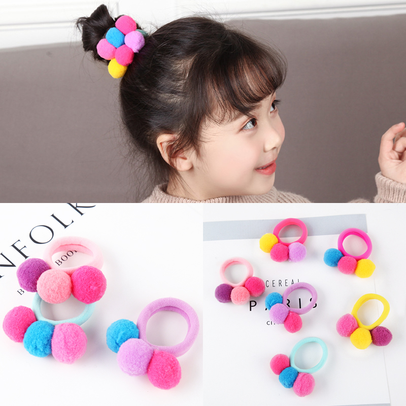6pcs/lot 3Balls Children's Hair Accessories Cute Girl Ponytail Hair Holder Elastic Rubber Band For Kids Colorful Hair Tie Kawaii m mism 2pcs new rhinestone bead hair elastic band hair accessories rubber tie gum ponytail holder scrunchy for women girls