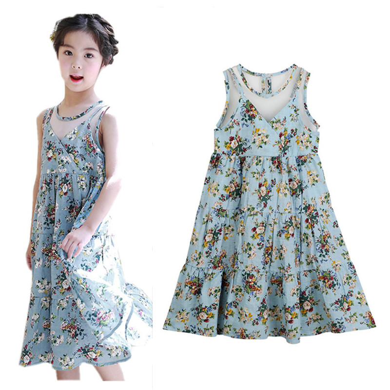 4 to 14 years kids & teenager girls summer floral sexy v-back flare beach bohemian long dress children fashion casual dresses