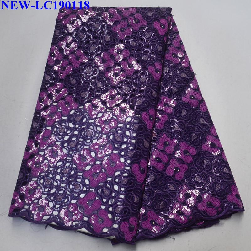 African Lace Fabric 2019 Embroidered Nigerian Lace Fabrics High Quality with sequins Tulle Lace Fabric For