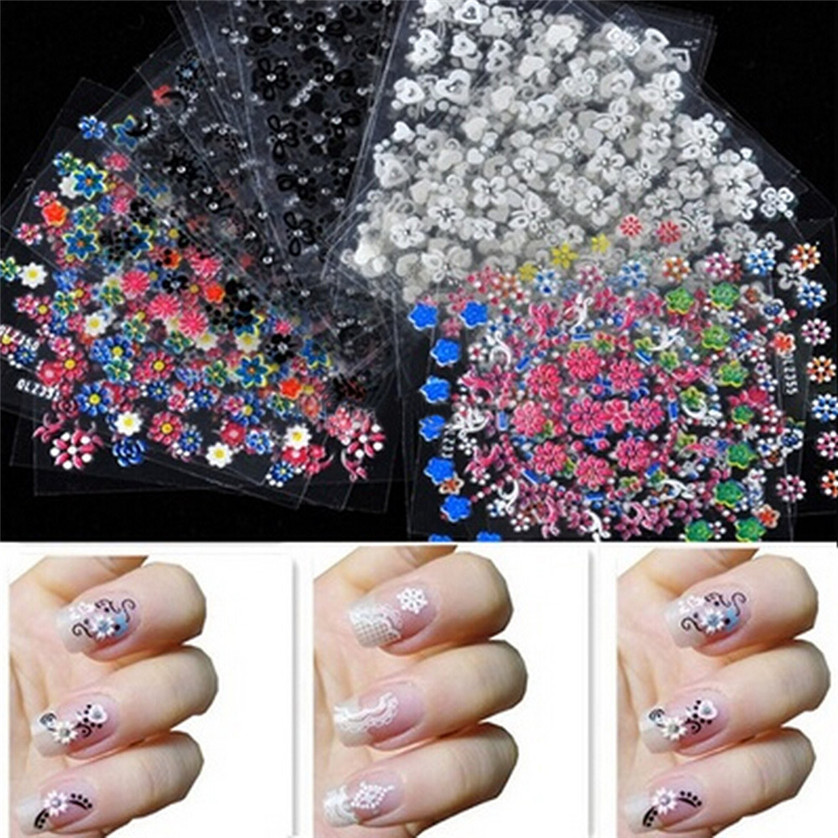 Min Nail Gel 30PCS 3D Design Tip Nail Art Sticker Decal Manicure Mix ...