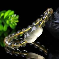 Ball Diameter 8mm Natural Citrine Quartz Crystal Fox Round Bead Bracelet Healing