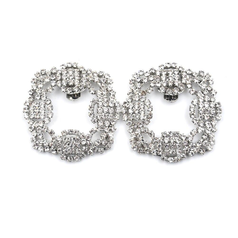 1 Pcs Women Crystal Shoe Clip Decoration Shoe Rhinestone Charm Metal Shoe Square Clamp Bridal Shoes Rhinestone Accessories