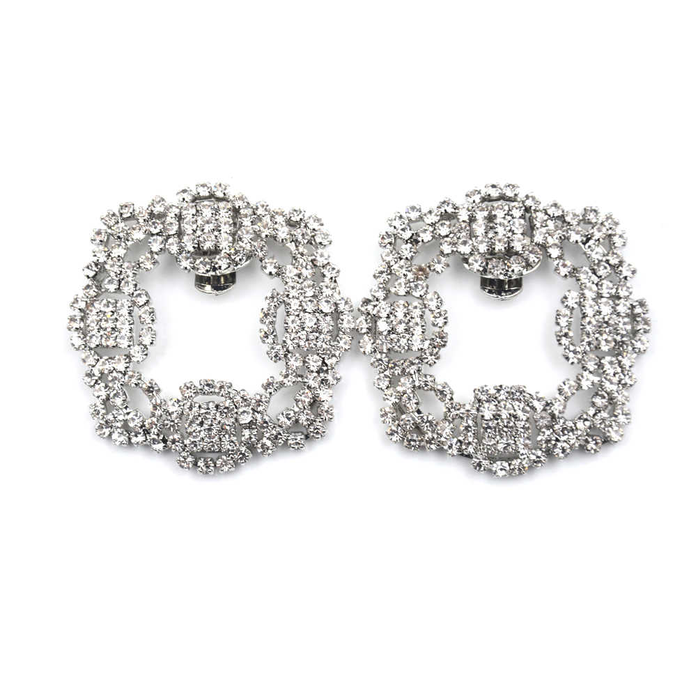 1 Pcs Women Crystal Shoe Clip Decoration Shoe Rhinestone Charm Metal Shoe Square Clamp Bridal Shoes Rhinestone Accessories