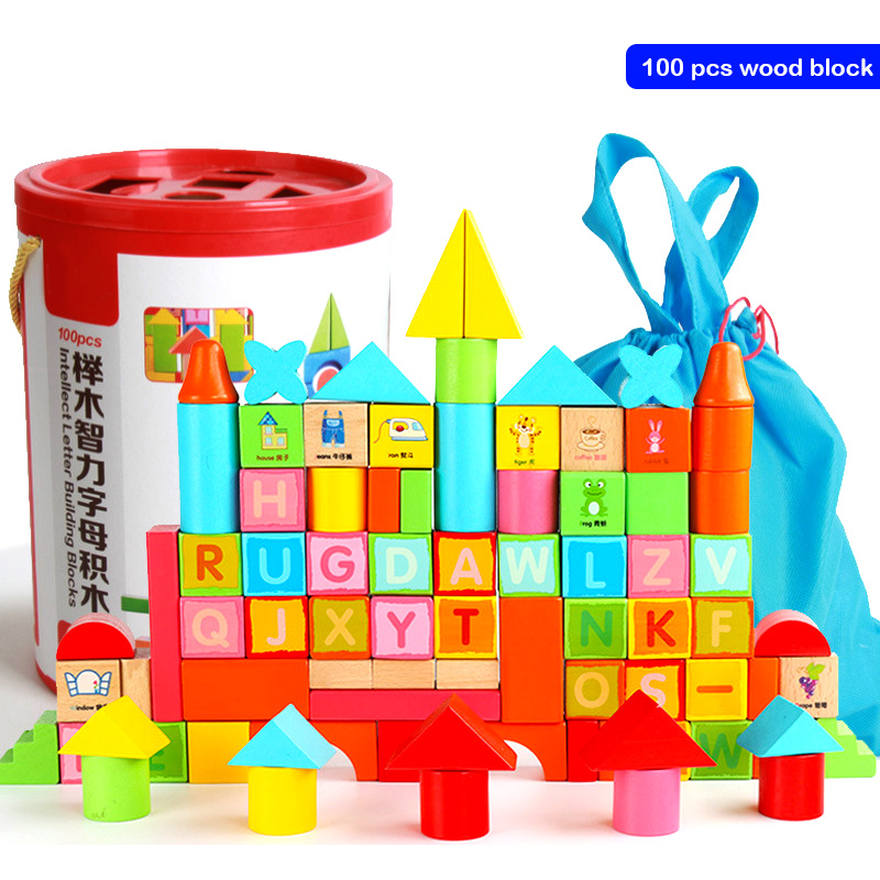 100pcs DIY Wood Building Blocks Toys for Children Enlightenment Toys Building Blocks Wooden Bucket Assemblage Building Block super creative acrylic rainbow educational toy tower pile of building blocks for children diy wooden assemblage building block