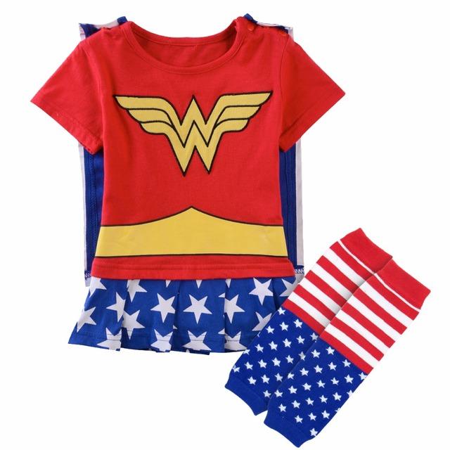 Bébé Fille Wonder Woman Costume Combishort avec Cape Parti Fantaisie Robes avec Chaud Jambe bottes Chaussettes Nouveau-Né Super Fille Body