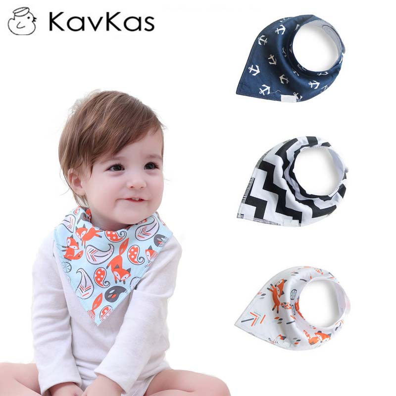 KAVKAS Printing Baby Bibs Saliva Towel Fashion Cartoon Pattern Cotton Rotating Turban Waterproof Child Scarf Accessories 75D