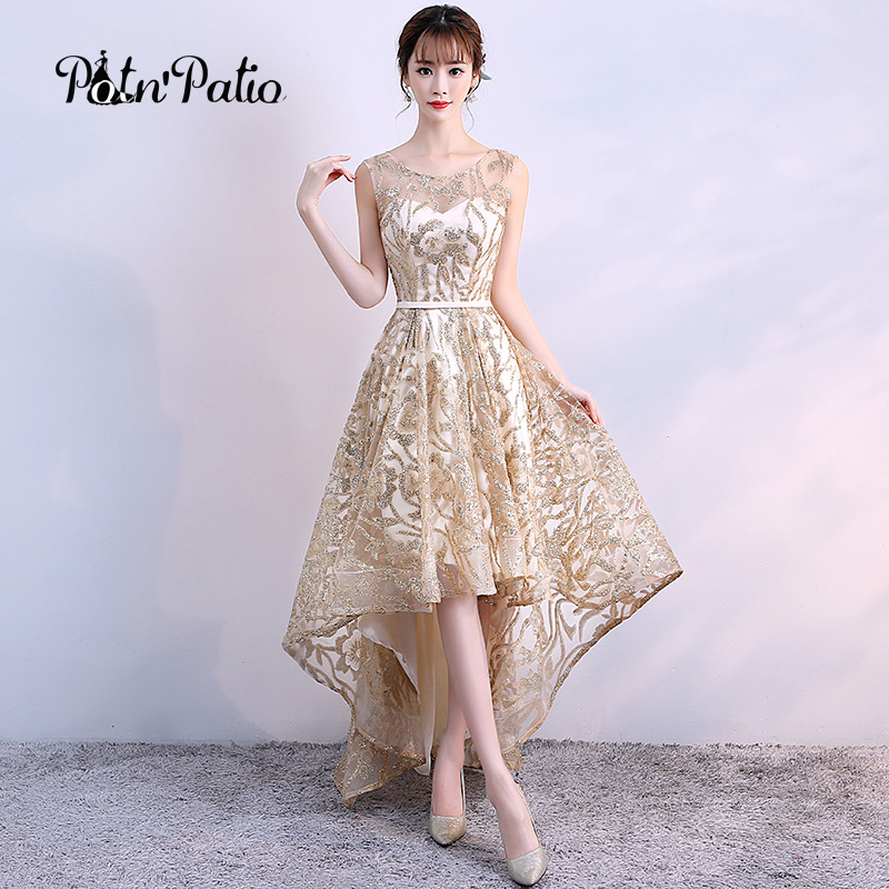 Gold Luxury Shiny Glitter Elegant Evening Dress 2018 Sexy Long High Low Evening Gown For Graduation Party Dresses