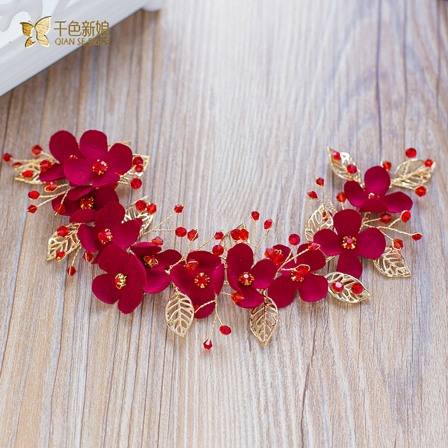Charm Floral hairband Crystal Beads red crown women hair ornaments  bridal pretty wedding photography accessories xinyan