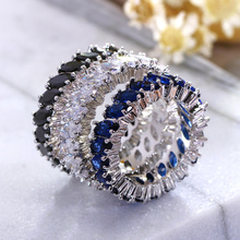 Colorful Stone Hot Style Blue Black Red Green Stones CZ Zircon Engagement jewelry Eternity Women Band Stacking rings for Wedding