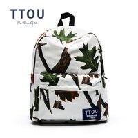 TTOU Design White Leaves Printing Backpack Teenager S School Bag Women Backpack Travel Bag
