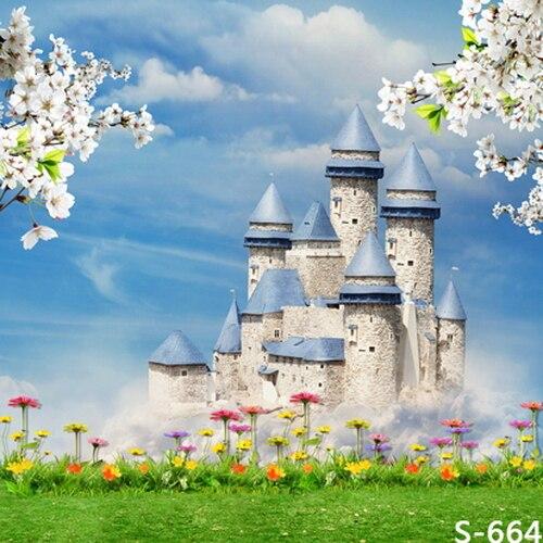 10x10ft Sky Cahaya Biru Putih Bunga Cabang Medieval Castle Menara