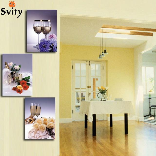 Bilder Für Die Küche Auf Leinwand   Neu 3 Stuck Kuche Leinwand Malerei Becher Blume Restaurant