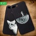 Caso para iphone 6 6s 7 8 6 X XR XS MAX espacio Luna sol flor matemáticas gatos lindos Pandas Animal negro cubierta de las cajas del teléfono bolsas