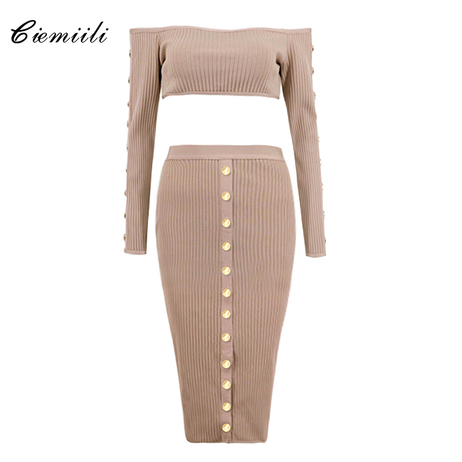 CIEMIILI Slash Neck Full Sleeves Short Tops Empire Button Knee Length Skirts 2018 Women Bandage Celebrity
