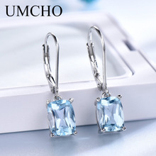 UMCHO Natural Sky Blue Topaz Drop Earrings Ægte 100% Sølv 925 Elegant Casual Smykker Gemstone For Women Wedding Gifts