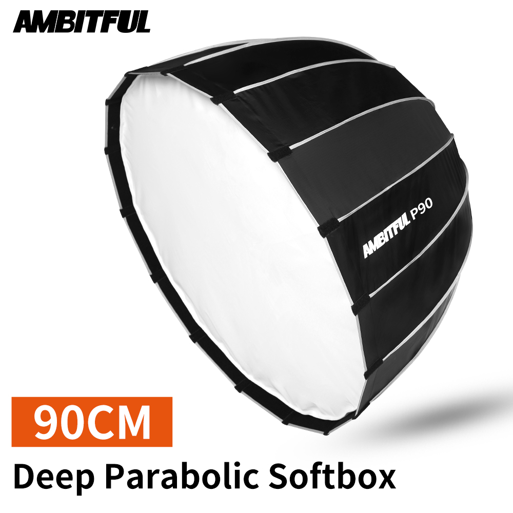 AMBITFUL P90 90CM Deep Parabolic Bowens Mount Quickly Fast Installation Portable Softbox Flash Speedlite Reflector Studio