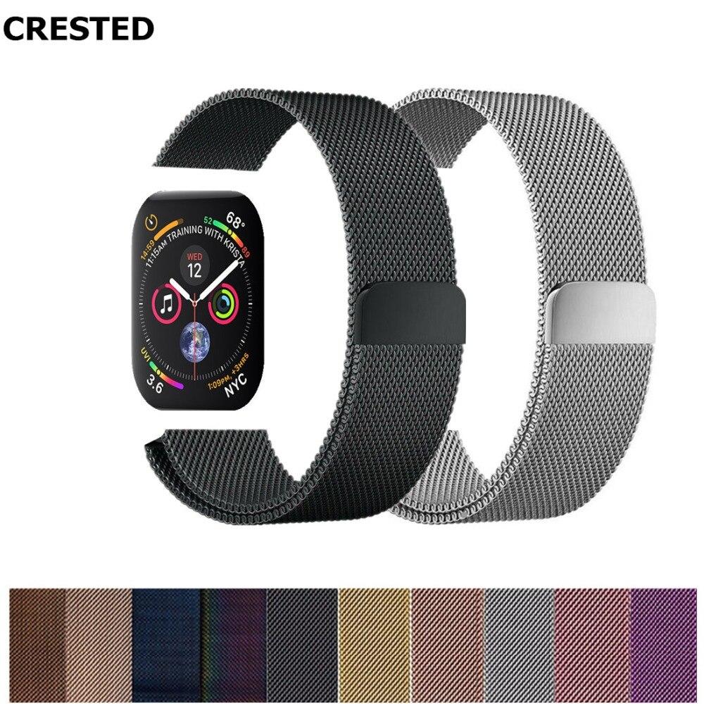 CRESTED pulsera Milanese Loop para reloj de Apple 4 banda de 44mm/42mm de acero inoxidable correa iwatch Serie 3 2 1 38mm/40mm pulsera de muñeca Correa
