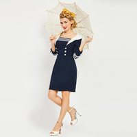 Sisjuly 2017 New Summer Women 50s 60s Retro Bodycon Patchwork Dress Straight Sailor Collar Three Quarter