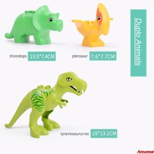 Dinosaurs Legoing Duplo Toys Animals Baby Enlighten Bricks Building Blocks Zoo Compatible Duploed Accessories Kids Birthday Gift(China)