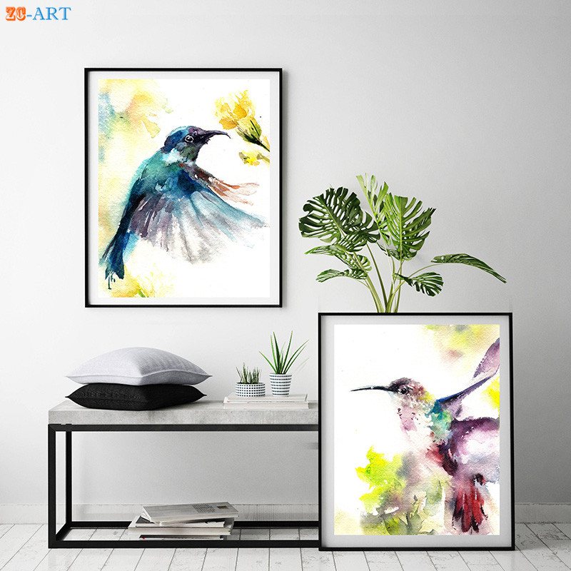 >Hummingbird Prints Poster Colorful <font><b>Watercolor</b></font> Painting Bird Wall Art Canvas Painting for Kids Room <font><b>Home</b></font> Decor Unframed Pictures