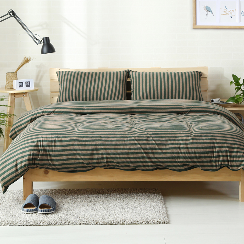 2018 Coffee Lines Dark Green Bedding Set Knit Cotton Duvet Cover Set Twin Queen King Bedlinens Flat/Fitted Sheet Pillowcases2018 Coffee Lines Dark Green Bedding Set Knit Cotton Duvet Cover Set Twin Queen King Bedlinens Flat/Fitted Sheet Pillowcases