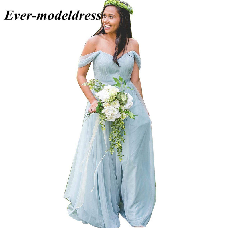 Off the Shoulder Chiffon   Bridesmaid     Dresses   Sweetheart A-Line Long Wedding Party   Dresses   Prom Gowns chiffon   dress   2018 plus size