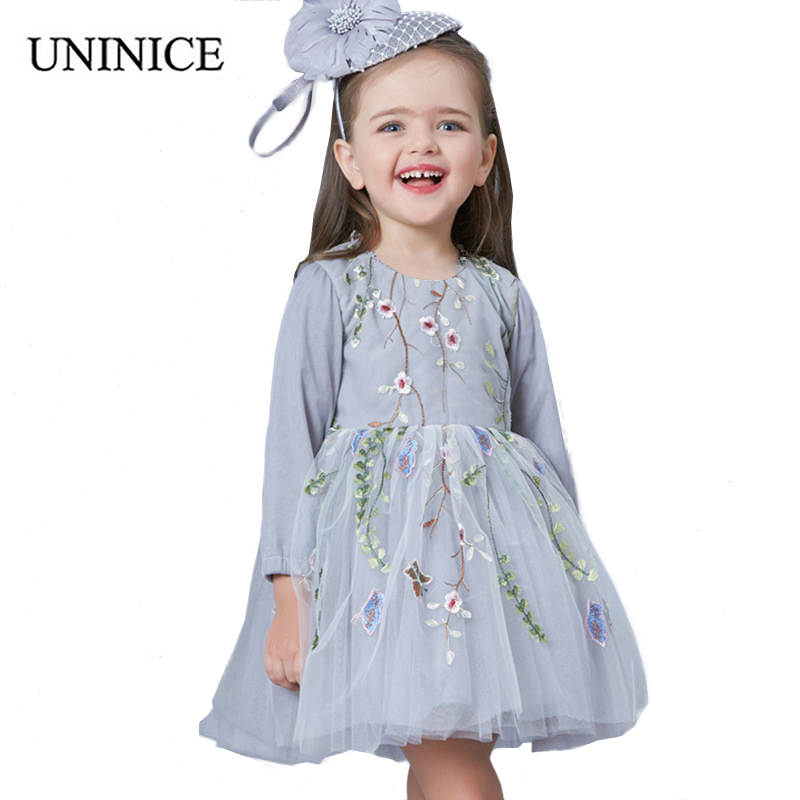 UNINICE Embroidery Flower Girl Dress 2018 New Baby Girls Long Sleeve Mesh Lace Princess Dress Party Vestidos Casual Kids Clothes lace detail flower embroidery velvet cami dress