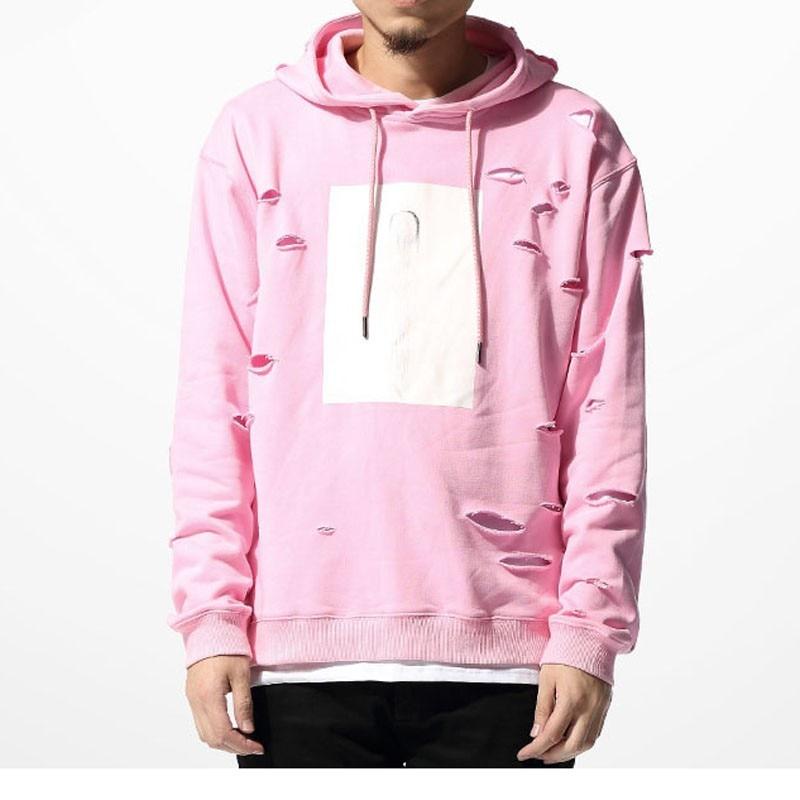 Agujero de color rosa con Capucha Sudaderas Para Hombre de