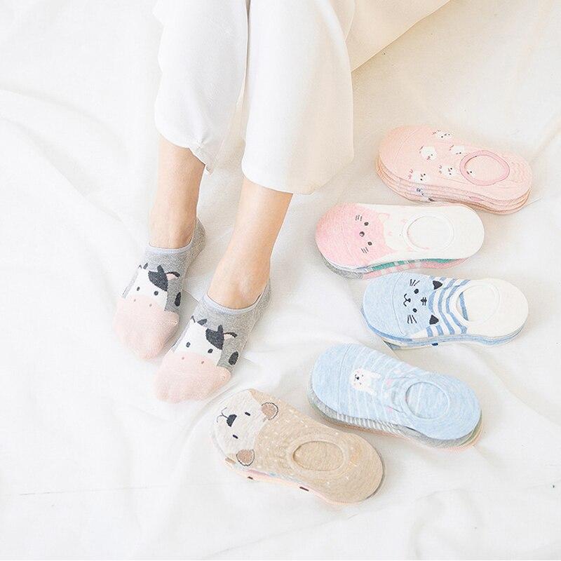 New Women's Silicone Anti-skid Socks Animal Socks Cotton Cute Cartoon Breathable Invisible Boat Socks Casual Low Waist Art Meias