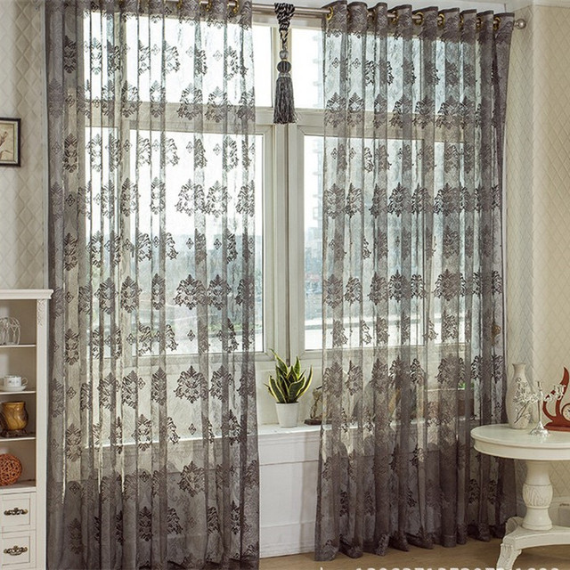 Fashion Cutout Dark Color Bay Window Curtain Gray Floor Transpa Voile Tulle Sheer