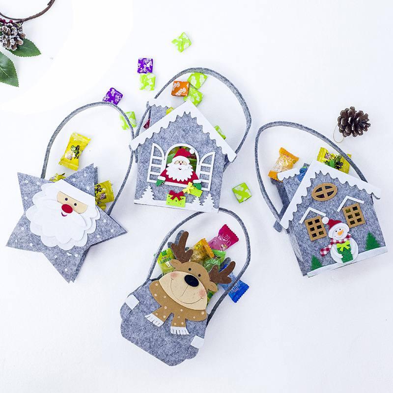 New Portable Felt Kid Handbag Christmas Candy Gift Holder Treat Bag Xmas