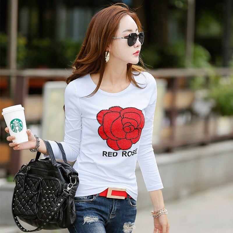 f81a2aad89 2017 nueva camiseta femenina De manga larga Camiseta De moda con estampado  De diamantes De imitación De algodón camisetas para mujeres Poleras De Mujer  ...