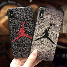 Black Silicone Michael Jordan Cover Brand Case for iPhone 6s 6 s 7 8 Plus X Capa para for Coque iPhone Jordan flying man Air 23